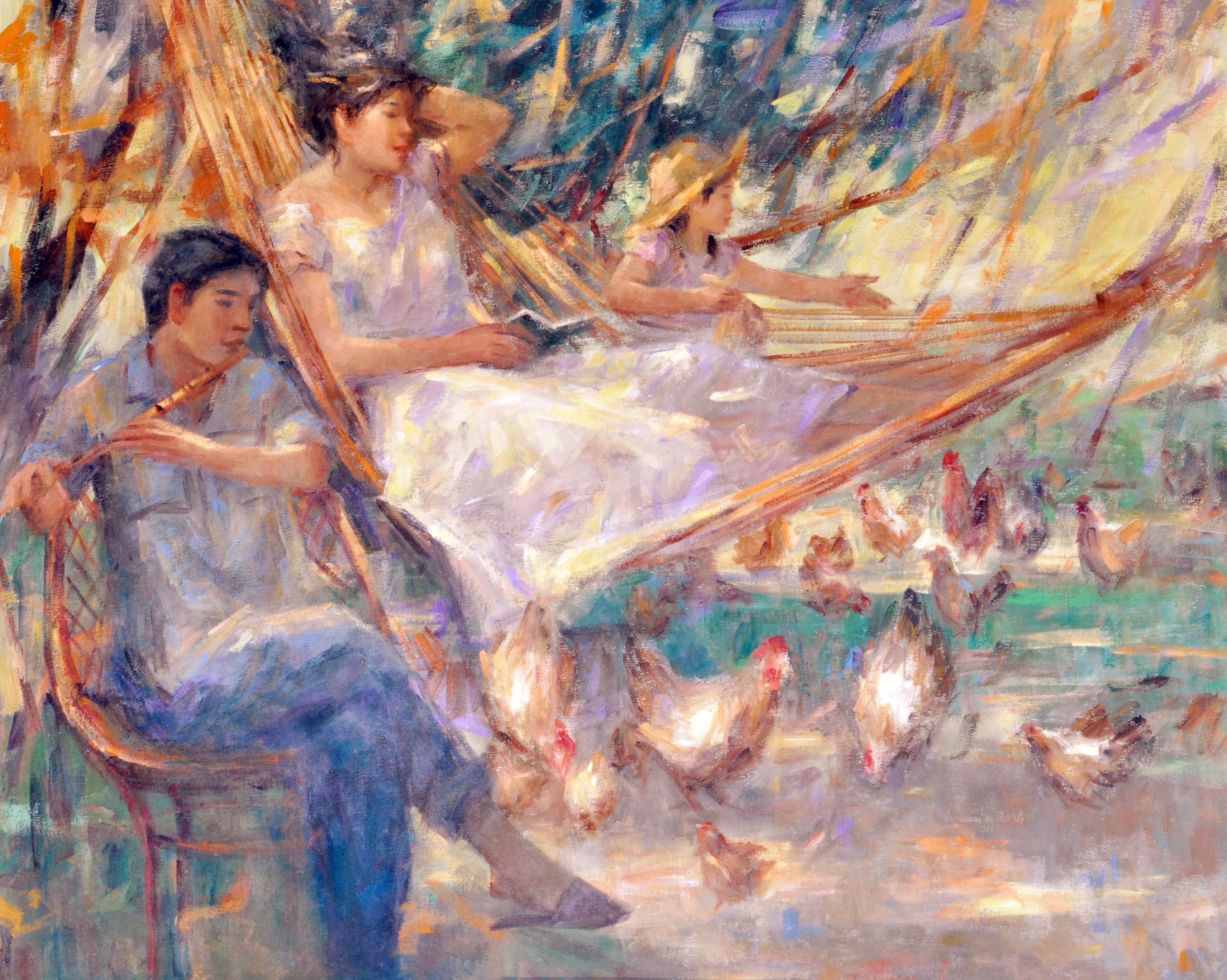 Duyan (Hammock),  artist Jun Martinez, watercolor, Top Ten Artist Philippines, impressionist artist, Philippines