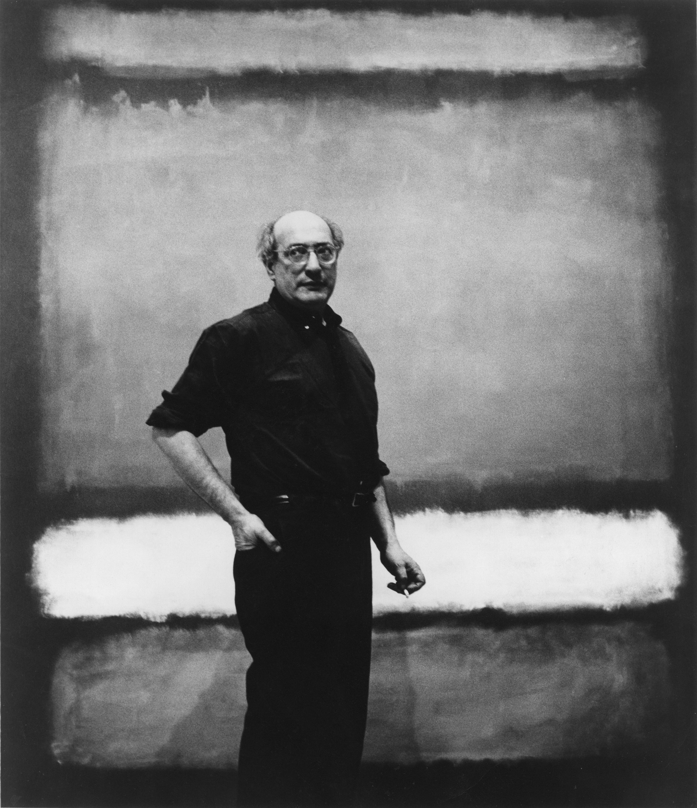 Mark Rothko with No. 7, 1960, photograph attributed to Regina Bogat, reproduced courtesy of The Estate of Mark Rothko courtesy Museum of Fine Arts Houston