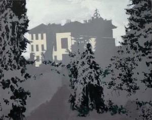 Eleanor Watson A Neighbour's Landmark, 2014 Oil on canvas 40 x 50 cm Courtesy The Cynthia Corbett Gallery