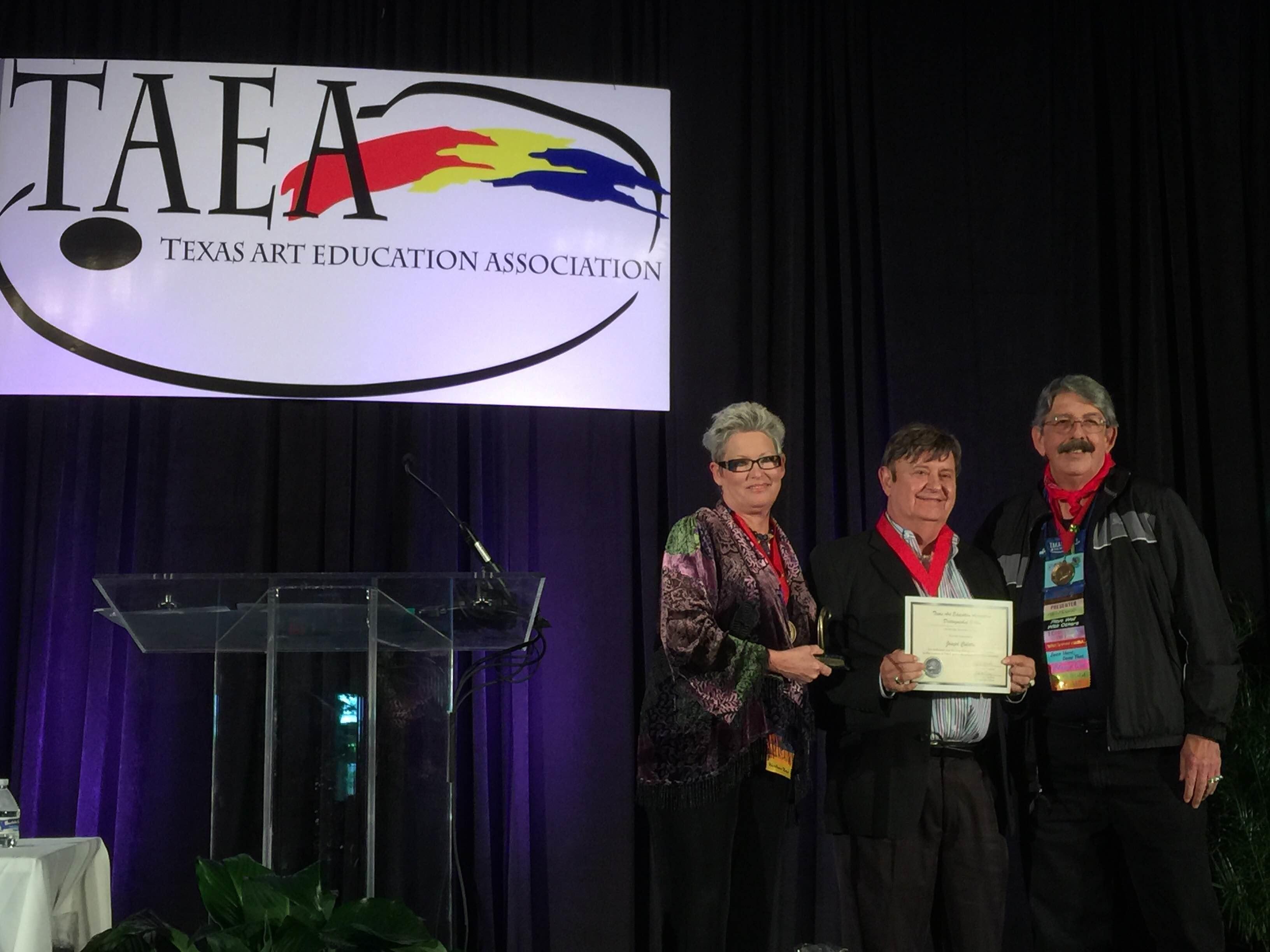 Artist Joseph Culotta, Dr. Tina Farrell, Robert Parker, Distinguished Fellow TAEA Texas Art Education Association (left to right Tina Farrell, Joseph Culotta, Robert Parker)