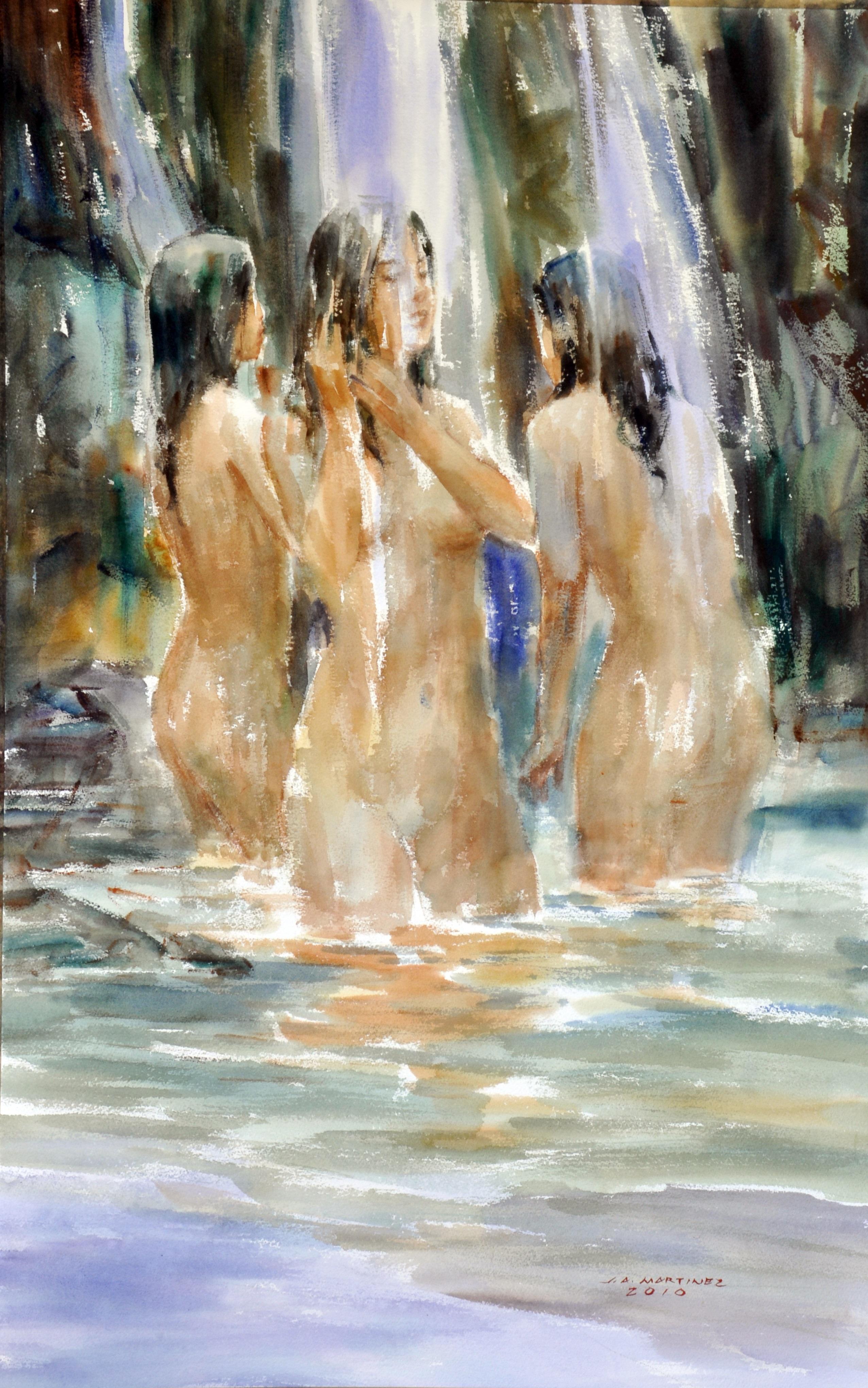 Bathers,  artist Jun Martinez, watercolor, Top Ten Artist Philippines, impressionist artist, Philippines