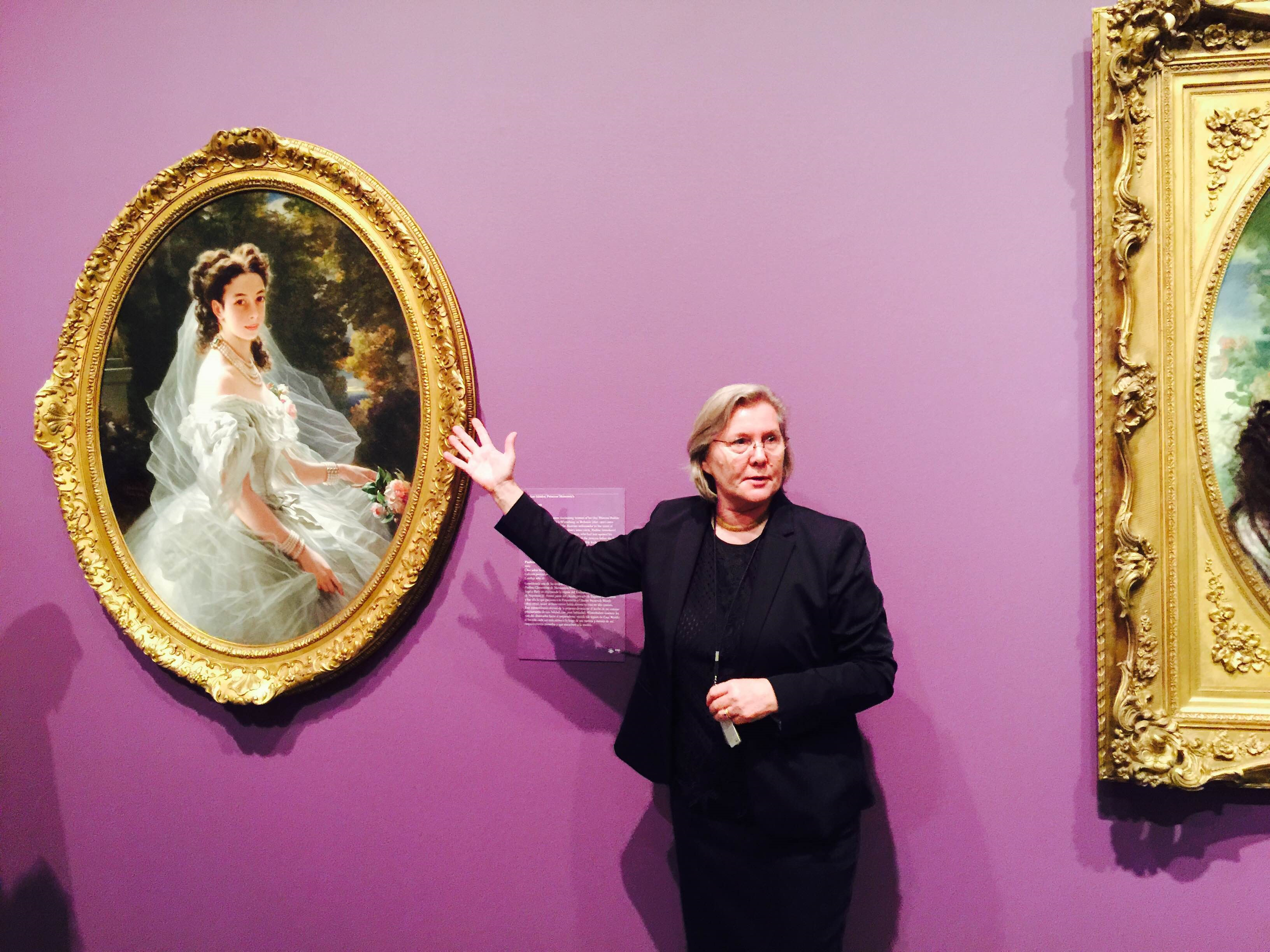 Dr. Helga K Aurisch,  curator European Art, Museum of Fine Arts Houston MFAH, in front of Pauline Sándor, Princess Metternich