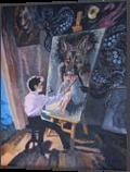 *H.P.Lovecraft. Pickman's Model*(acrylic on carboard), Illustration, Fine Art, Fantasy, Acrylic, By Victoria Trok