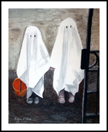 """""""Reluctant Ghosts"""", Paintings, Realism, Children, Watercolor, By William Clark"""