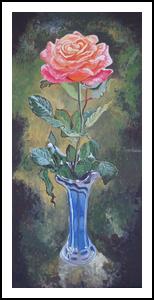 *The Rose*(acrylic on cardboard), Paintings, Fine Art, Still Life, Acrylic, By Victoria Trok