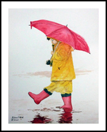 """Walk in the Rain"", Paintings, Realism, Children, Painting, By William Clark"