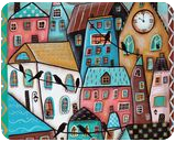 10 O'Clock, Folk Art, Fine Art, Cityscape, Acrylic, By KARLA A GERARD