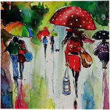 Rain and the city at fall, Paintings, Impressionism, Cityscape, People, Watercolor, By Kovacs Anna Brigitta