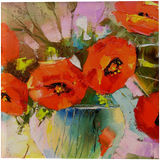 A bouquet of poppies in a vase, Paintings, Impressionism, Botanical, Floral, Nature, Canvas, Oil, Painting, By Olha   Vyacheslavovna Darchuk