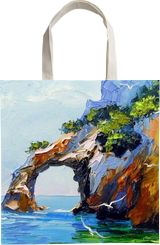 Arch of happiness by the sea, Paintings, Impressionism, Botanical, Landscape, Nature, Seascape, Canvas, Oil, Painting, By Olha   Vyacheslavovna Darchuk