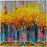 Autumn in Chicago, Paintings, Expressionism, Impressionism, Architecture, Cityscape, Canvas, Oil, Painting, By Olha   Vyacheslavovna Darchuk