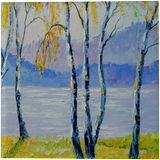 Birches by the river, Paintings, Expressionism, Fine Art, Impressionism, Botanical, Land Art, Landscape, Nature, Canvas, Oil, Painting, By Olha   Vyacheslavovna Darchuk