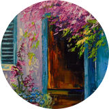 Blooming courtyard, Paintings, Impressionism, Botanical, Floral, Landscape, Nature, Canvas, Oil, Painting, By Olha   Vyacheslavovna Darchuk
