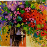 Bouquet of wildflowers, Paintings, Impressionism, Botanical, Floral, Canvas, Oil, Painting, By Olha   Vyacheslavovna Darchuk
