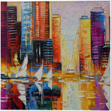 Evening new York, Paintings, Expressionism, Impressionism, Architecture, Cityscape, Landscape, Canvas, Oil, Painting, By Olha   Vyacheslavovna Darchuk