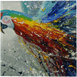 Parrot in flight, Paintings, Abstract, Impressionism, Animals, Fantasy, Canvas, Oil, Painting, By Olha   Vyacheslavovna Darchuk
