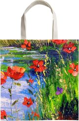 Poppies by the pond, Paintings, Impressionism, Botanical, Floral, Land Art, Landscape, Nature, Canvas, By Olha   Vyacheslavovna Darchuk