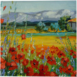 Poppy field near the mountains, Paintings, Fine Art, Impressionism, Botanical, Floral, Landscape, Canvas, Oil, Painting, By Olha   Vyacheslavovna Darchuk