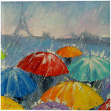 Rain in Paris, Paintings, Abstract, Impressionism, Cityscape, Daily Life, Fantasy, Canvas, Oil, Painting, By Olha   Vyacheslavovna Darchuk