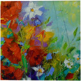 Rhythm of summer flowers, Paintings, Abstract, Expressionism, Impressionism, Analytical art, Botanical, Fantasy, Floral, Canvas, Oil, Painting, By Olha   Vyacheslavovna Darchuk