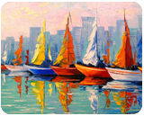 Sailboats in the Bay, Paintings, Impressionism, Architecture, Botanical, Landscape, Canvas, Oil, Painting, By Olha   Vyacheslavovna Darchuk