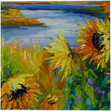 Sunflowers in the wind by the river, Paintings, Expressionism, Fine Art, Impressionism, Botanical, Floral, Landscape, Nature, Canvas, Oil, Painting, By Olha   Vyacheslavovna Darchuk