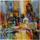 The first snow in the metropolis, Paintings, Abstract, Impressionism, Analytical art, Cityscape, Landscape, Canvas, Oil, Painting, By Olha   Vyacheslavovna Darchuk