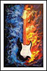 The sound of the guitar, Paintings, Expressionism, Fine Art, Impressionism, Fantasy, Figurative, Inspirational, Music, Canvas, Oil, Painting, By Olha   Vyacheslavovna Darchuk