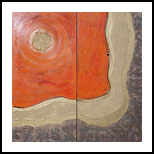d79364d64f3331 Hot orange gold rusty iron A113 Abstract Painting vertical wall art ...