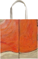 8c2f5790d61af7 ... Shopping Tote Bag Hot orange gold rusty iron A113 Abstract Painting  vertical wall art ...