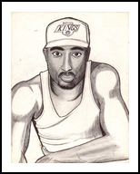 2pac shakur, Drawings / Sketch, Realism, Portrait, Ink,Pencil, By odinel pierre junior