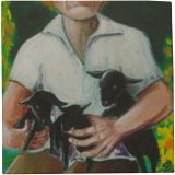 Grandma Nina w/ Baby Goats, Paintings, Expressionism, Portrait, Acrylic, By Shaunna Marcine Perkins