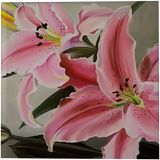 Pink lilies, Paintings, Photorealism, Floral, Canvas, Oil, By Anna Rita Rita Angiolelli