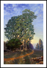 Trees at Sunset, Paintings, Impressionism, Botanical, Landscape, Canvas, Oil, By Mason Mansung Kang
