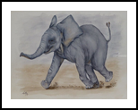 Baby Elephant Run, Paintings, Expressionism, Fine Art, Realism, Animals, Children, Humor, Painting, Watercolor, By Kelly A Mills