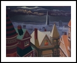 4 Chimneys, Paintings, Fine Art,Realism,Surrealism, Architecture,Landscape, Canvas,Oil,Painting, By Richard Michael Ferrugio