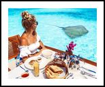 Breakfast With Manta Ray,maldives, Paintings, Fine Art, Figurative, Watercolor, By Angelo