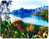 Lake Murray-san Diego, Paintings, Fine Art, Window on the World, Watercolor, By Angelo