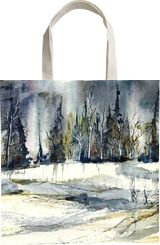 The snowy land, Paintings, Abstract, Expressionism, Impressionism, Landscape, Ink, Painting, Watercolor, By Aniko Hencz
