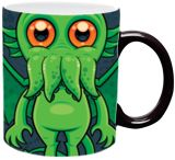 Cute Green Cthulhu Monster, Digital Art / Computer Art, Illustration, Pop Art, Animals, Cartoon, Fantasy, Humor, Digital, By John Schwegel