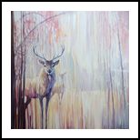 Woodland Souls - large winter landscape painting with deer, Paintings, Expressionism, Animals, Oil, By Gill Bustamante