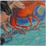 Christmas horses, Drawings / Sketch, Expressionism, Animals, Fantasy, Wildlife, Pastel, By Tetyana K