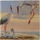 Cranes, Pastel, Fine Art, Animals, Canvas, By maka magnolia