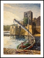 9. Chateau Royal & barque, Collioure, Paintings, Fine Art, Seascape, Oil, By TED HISCOCK