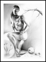 Bettie Page - 24-02-17, Drawings / Sketch, Abstract,Cubism,Fine Art,Realism,Surrealism, Anatomy,Animals,Composition,Erotic,Nudes, Pencil, By Corne Akkers