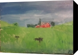 Calves in a Meadow, Paintings, Impressionism, Landscape, Oil, By MD Meiser