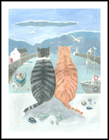 Cats in the Harbour, Paintings, Fine Art, Animals, Acrylic, By Mary Stubberfield