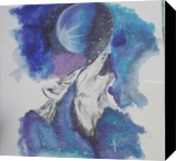 Celestial Wolf, Paintings, Fine Art, Animals,Celestial / Space,Fantasy, Watercolor, By Sukrriti Aggarwal