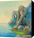 Cliffs by the sea, Paintings, Impressionism, Landscape,Nature,Seascape, Canvas,Oil,Painting, By Olha   Vyacheslavovna Darchuk