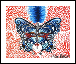 Coral Butterfly, Paintings, Fine Art, Animals,Botanical,Composition, Canvas,Oil, By Helen - Bellart